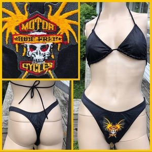 🆕List! Motorcycle Snake Embossed Bikini! VTG!